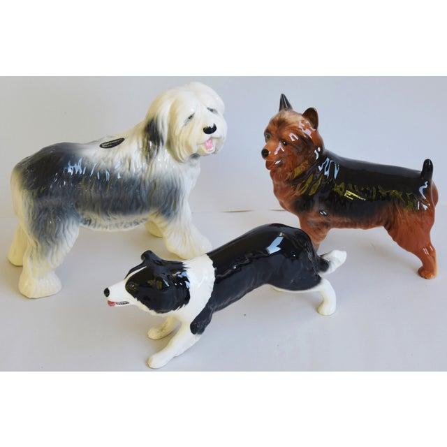 Gray English Coopercraft Porcelain Dog Figurines - Set of 3 For Sale - Image 8 of 9