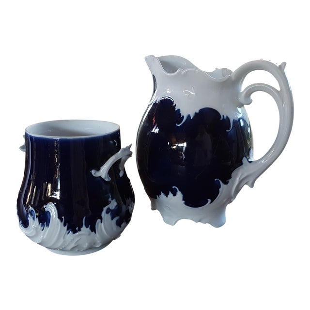 Antique Victorian Era Cobalt Blue and Bone White China Water Pitcher and Chamber Pot - Wave Like Detailing For Sale
