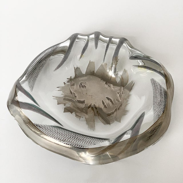 Abstract Unique Sculptural Art Glass Low Bowl With Silver Details For Sale - Image 3 of 12
