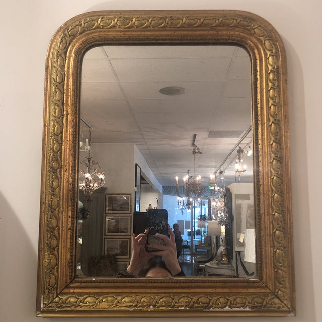 Small Louis Phillipe mirror. Intricate detailing. Chips as shown. Great character!