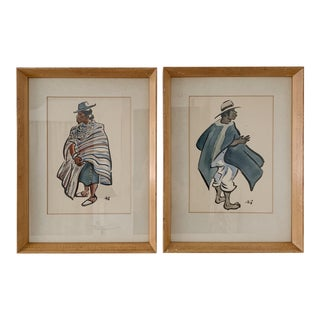 Vintage South American Watercolor Paintings - a Pair For Sale