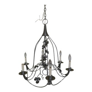 Contemporary Murray's Iron Works Quality 6 Light Chandelier For Sale
