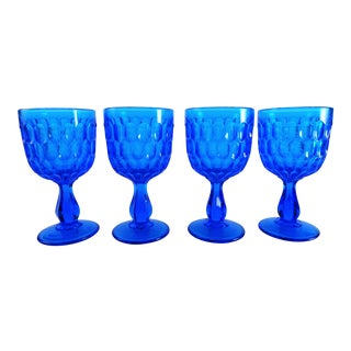 Mid Century Modern Fenton Art Blue Glass Goblets - Set of 4 For Sale