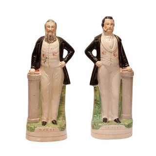 "1860s English Staffordshire ""Moody and Sankey"" Figures - Set of 2 For Sale"