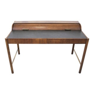 Hekman Walnut and Brass Roll Top Writing Desk For Sale