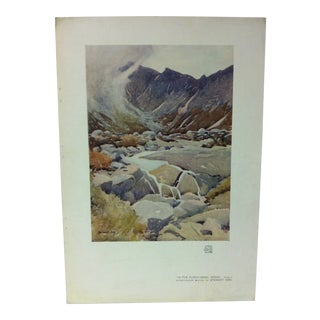 """Vintage 1930s """"In the Punch Bowl"""" Color Print on Paper by Stewart Orr For Sale"""
