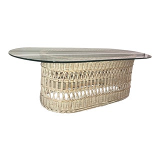 Vintage Rattan Wicker and Glass Coffee Table For Sale
