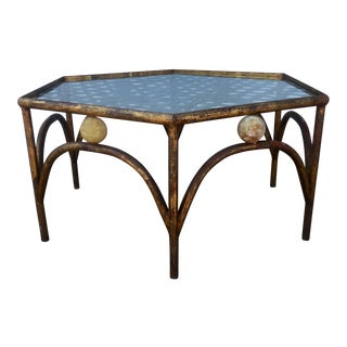 Gold Gilded Iron & Onyx Coffee Table For Sale