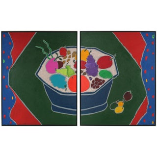 """Iced Fruit"" Large Diptych Still Life Painting"