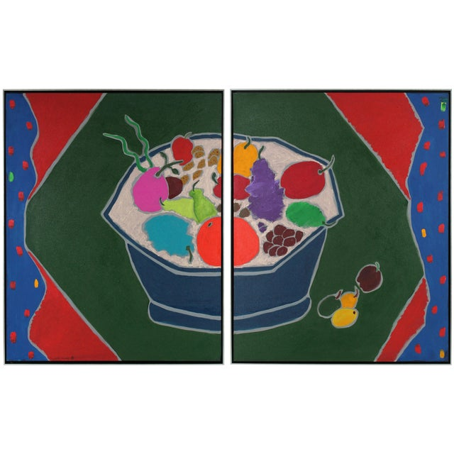 """Iced Fruit"" Large Diptych Still Life Painting For Sale"