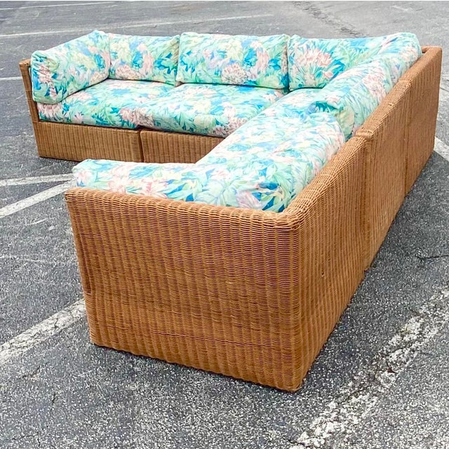 Vintage Coastal Woven Rattan Printed Sectional For Sale - Image 9 of 13