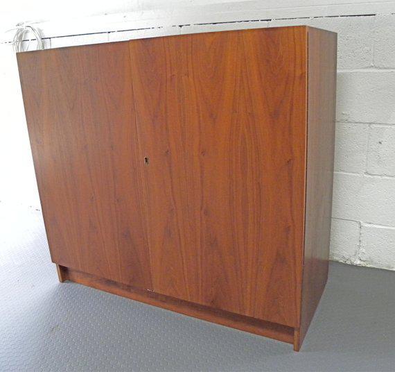 Vitre Danish Teak Vintage Mid Century Folding Compact Desk Cabinet For Sale    Image 11 Of