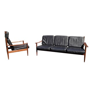 Danish Teak Sofa and Chair Set For Sale