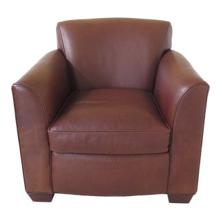 Crate & Barrel Brown Leather Living Room Chair by Lee For Sale
