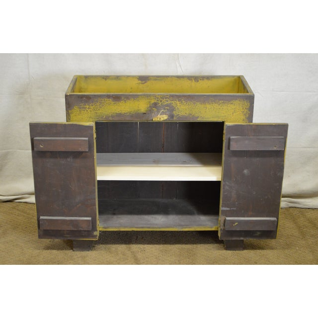 Primitive Distressed Painted Country Small Dry Sink Cabinet - Image 6 of 11