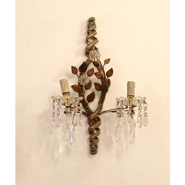 Pair of Sconces with Pendants, 1940s For Sale - Image 6 of 6