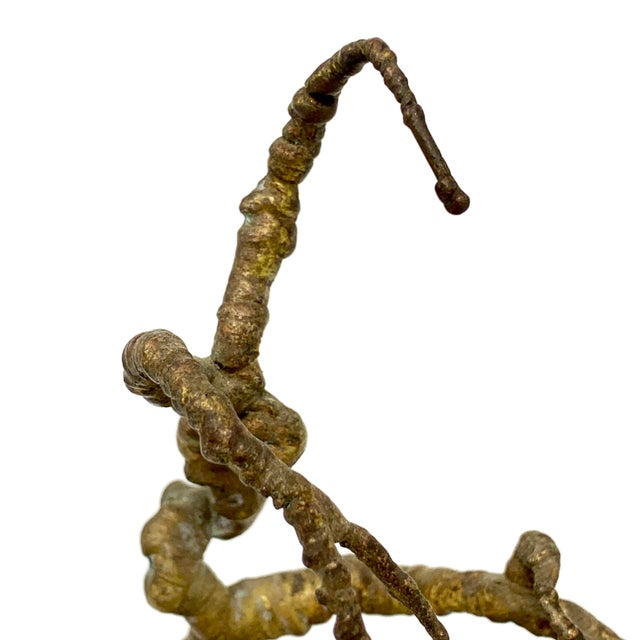 Vintage Mid-Century Brass and Stone Tree Sculpture For Sale - Image 9 of 13