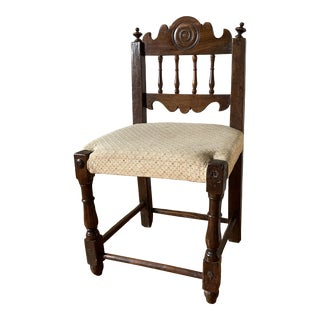 17th Century Italian Florentine Hand Carved Upholstered Walnut Side Chair For Sale