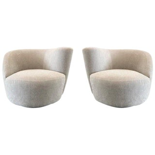 Pair Vladimir Kagan Corkscrew Swivel Chairs