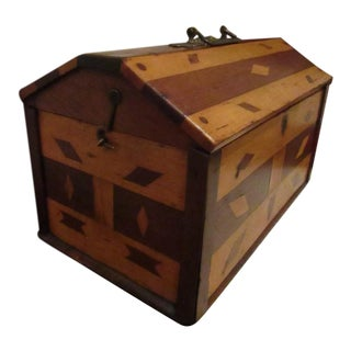 Antique 1800s New England Folk Art Inlayed Wooden Decorated Miniature Chest / Box For Sale