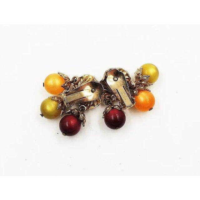 Mid 20th Century Napier Red, Green & Yellow Moonglow Drops Earrings For Sale - Image 5 of 7