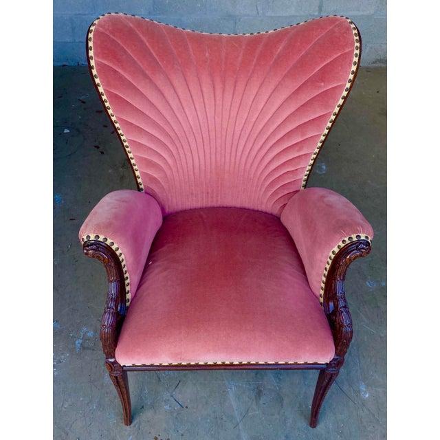 Vintage Pink Velvet High Back Chair For Sale - Image 10 of 10