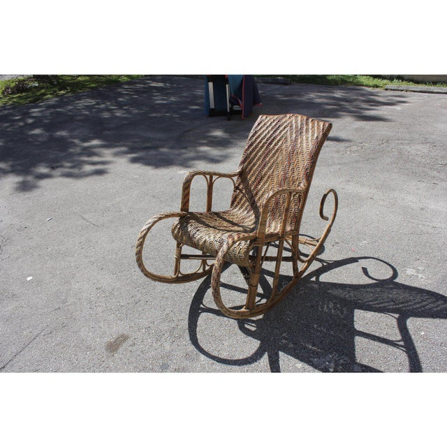 C. 1940s French Art Deco Wood Rocking Chair For Sale - Image 4 of 13
