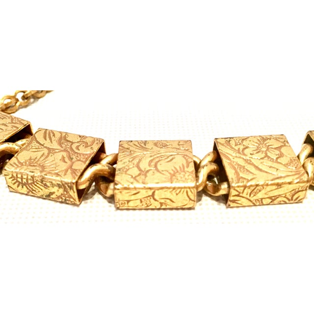 Metal 20th Century Art Nouveau Gold Book Chain Choker Style Necklace & Earrings - Set of 3 For Sale - Image 7 of 13