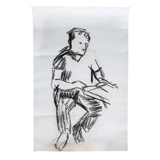 Original Mid-Century Figurative Drawing - Large Scale