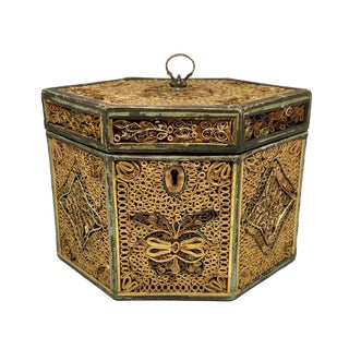 Late 18th Century English George III Quill Work Tea Caddy For Sale