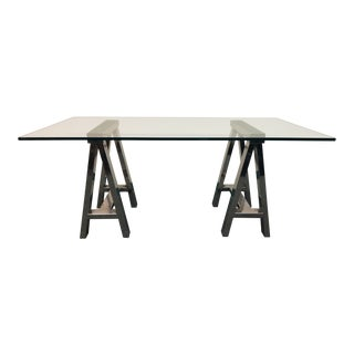 Mason Glass + Polished Nickel Trestle Desk, From Williams-Sonoma Home For Sale