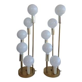 Mid-Century Robert Sonneman Sculptural Graduated Waterfall Lamps - a Pair For Sale