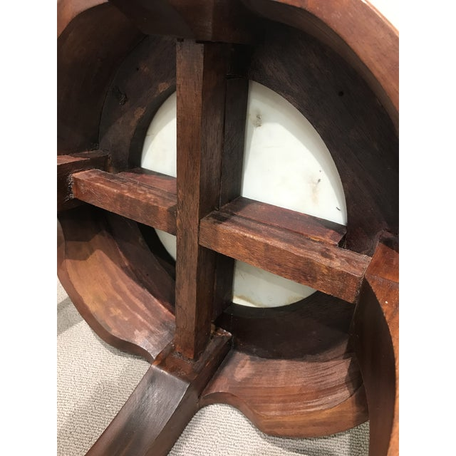 Curved Wood Stool With Porcelain Inset For Sale - Image 12 of 13