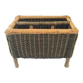 Vintage Rattan Wicker Magazine Holder