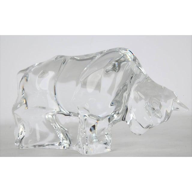 Big Signed Baccarat Crystal Bull Figurine