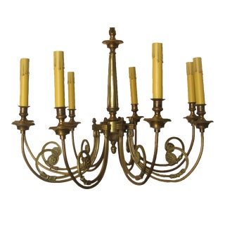 French Neoclassical 8-Arm Bronze Chandelier For Sale