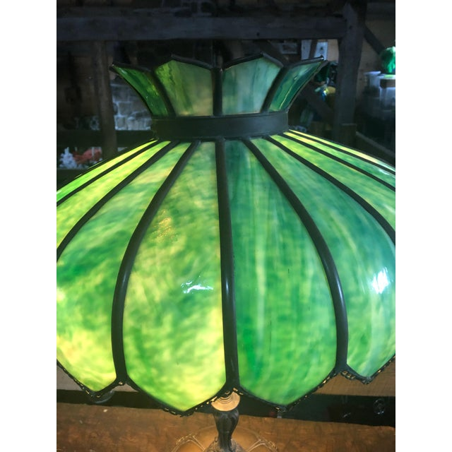 Vintage Green Leaded Glass and Brass Large Table Lamp For Sale - Image 10 of 11