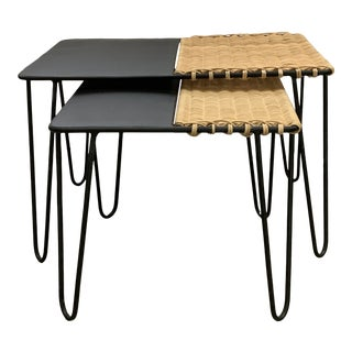 Black & Beige Rattan Wrapped Nesting Tables - A Pair For Sale