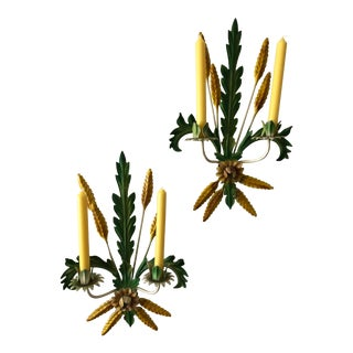 Italian Toleware Wheat and Leaves Tole Candle Sconces - Set of 2 For Sale