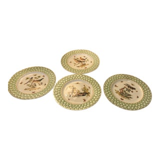 Set of 4 Birds and Butterflies Green and Gold Border Plates For Sale
