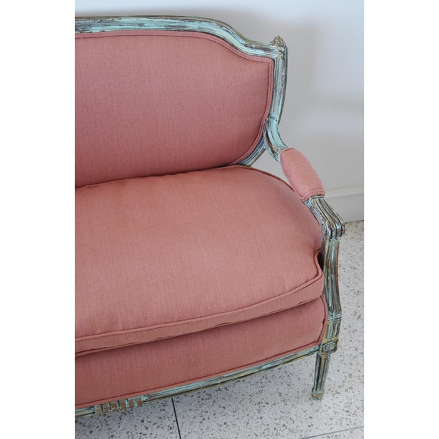 Rose Linen Upholstered Turquoise and Gold Gilt Accented Settee Loveseat For Sale In Los Angeles - Image 6 of 13