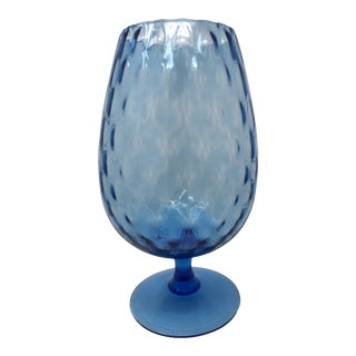 Mid Century Blue Brandy Snifter Glass For Sale