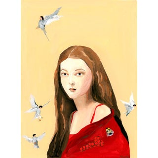 """""""Red Shawl, Birds and Bee"""" Contemporary Gouache Portrait Painting by Alexandra Swistak For Sale"""