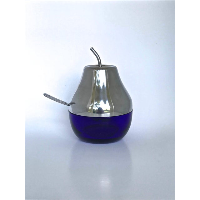 Cobalt & Chrome Jelly Pot & Spoon For Sale - Image 10 of 10