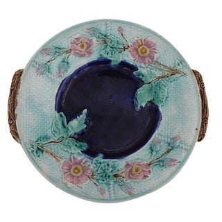 English Majolica Wild Rose Wall Platter Circa 1890 For Sale