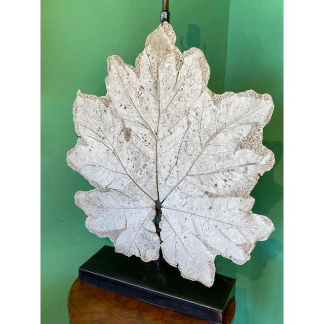 Plaster French Lamp With Vintage Plaster Leaf For Sale - Image 7 of 8