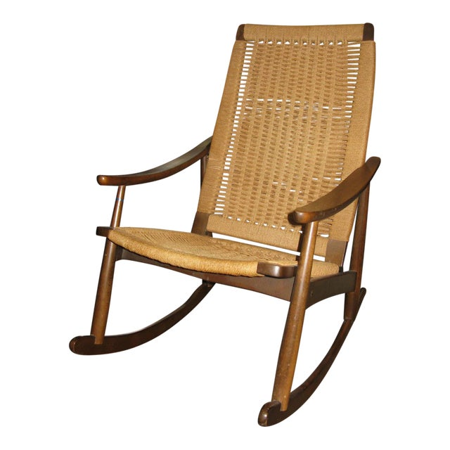 Hans Wegner Style Rope Rocking Chair - Image 1 of 8