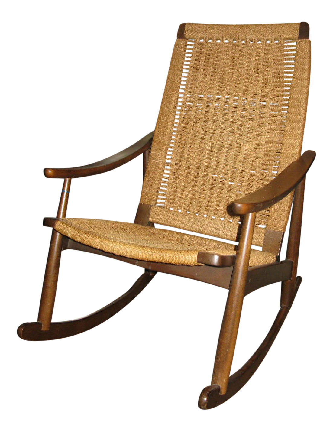 Superbe Hans Wegner Style Rope Rocking Chair   Image 1 Of 8