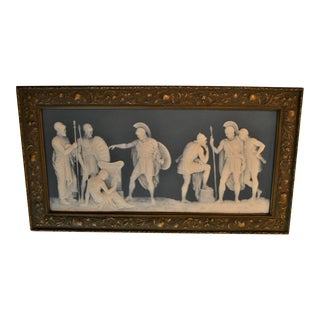 Antique 19th Century Pate sur Pate Mettlach Pottery Tile in Frame