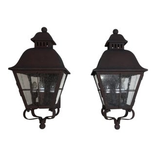 Wall Hanging Brass Lanterns - a Pair For Sale